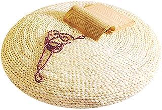 Puf de paja natural, puf tatami, futón, cojín redondo de punto, cojín de suelo Tatami, esterilla de meditación, suave para balcón, sala de estar, jardín (40 cm)