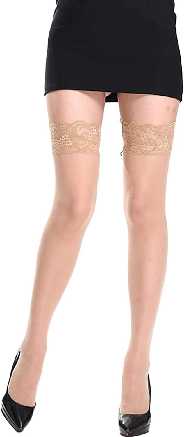 ANNIEE Women's Lace Top Thigh High Sheer Stockings Ultra Shimmery Pantyhose