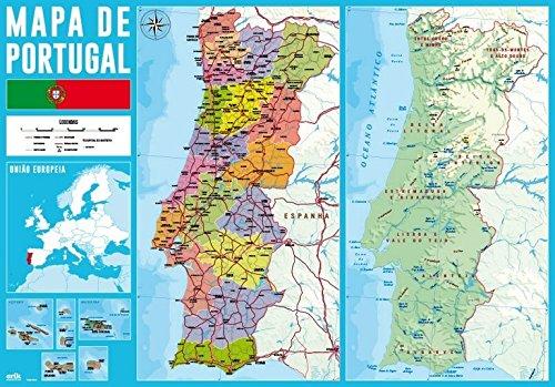 Grupo Erik Editores tsept013 schoolbord - bureau-onderlegger met motief kaart van Portugal