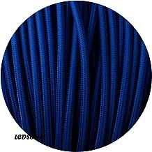 Cable eléctrico de tela trenzada de 0,75 mm, 3 núcleos, color azul oscuro, 10 metros