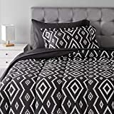 AmazonBasics 5-Piece Light-Weight Microfiber Bed-In-A-Bag Comforter Bedding Set - Twin or Twin XL, Black Aztec