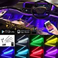 Dreamcolor Car Interior Ambient Lighting Kit with APP and Remote Controller, 4PCS 48 LEDs Multicolor Interior Car Lights, DIY Color Music Under Dash Car Lighting with Wires and Car Charger