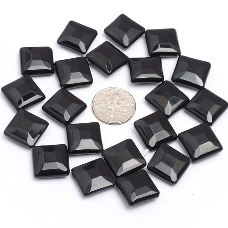 JOE FOREMAN 14mm Black Agate Semi Precious Gemstone Diagonal Square Faceted Loose Beads for Jewelry Making DIY Handmade Craft Supplies 15