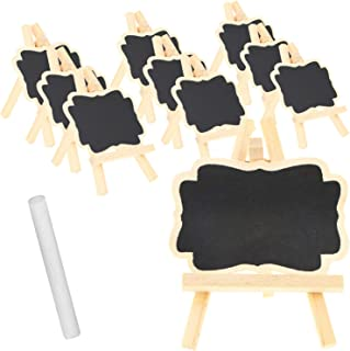 com-four® 10x Mini Juego de tablones de Madera para Hierbas y Plantas de Interior, Caballete de Madera con Tiza para macetas, Semillas, Semillas