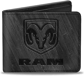 Buckle-Down PU Bifold Wallet - RAM Logo Wood Grain Grays