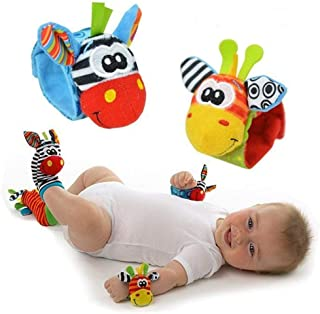 Newborn Toys, BIGBOBA 4 Animal Wrist Rattle and Foot Finder Socks Set Hands Foots Development Toys Gift Toy Clothing Ideal...