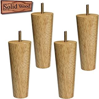 Furniture Legs Replacement Natural Wood Legs for Sofa Couch Cabinet Cube Storage Organizer Set of 4 (6 inch high)