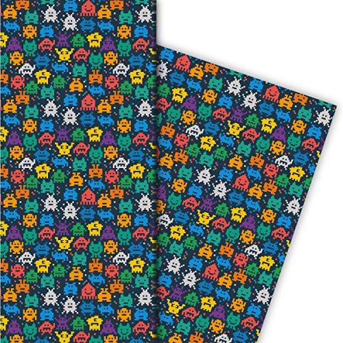 Kartenkaufrausch Retro Pixel Monster Geschenkpapier Set 4 Bogen, Dekorpapier nicht nur für Computer Spiel Nerds - als edle Geschenkverpackung, Musterpapier zum basteln 32 x 48cm