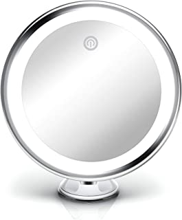 Fancii 10X Magnifying Makeup Mirror with True Natural Light and Locking Suction - 20 cm Large Lighted Travel Vanity Mirror, Dimmable Daylight LEDs, Battery and USB Operated