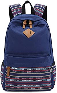 Fashio Square Backpack for Women Canvas Vintage Backpack Former for The Outside Camping Picnic Sports University Backpack and School C5095 Blue