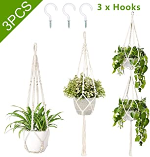 AerWo 3 Pack Macrame Plant Hanger Indoor Wall Hanging Planters+ 3 PCS Hooks, Handmade Hanging Plant Holder Basket Stand Flower Pot Holder for Indoor Outdoor Boho Home Decor(4 Legs, 3 Sizes)