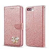 QLTYPRI iPhone 5 5S SE Hülle, Glitzer Handyhülle PU Ledertasche TPU Etui Handschlaufe Kartenfach mit Eingelegten Liebe Herz Diamond Flip Schutzhülle für iPhone 5 5S SE - Rosegold