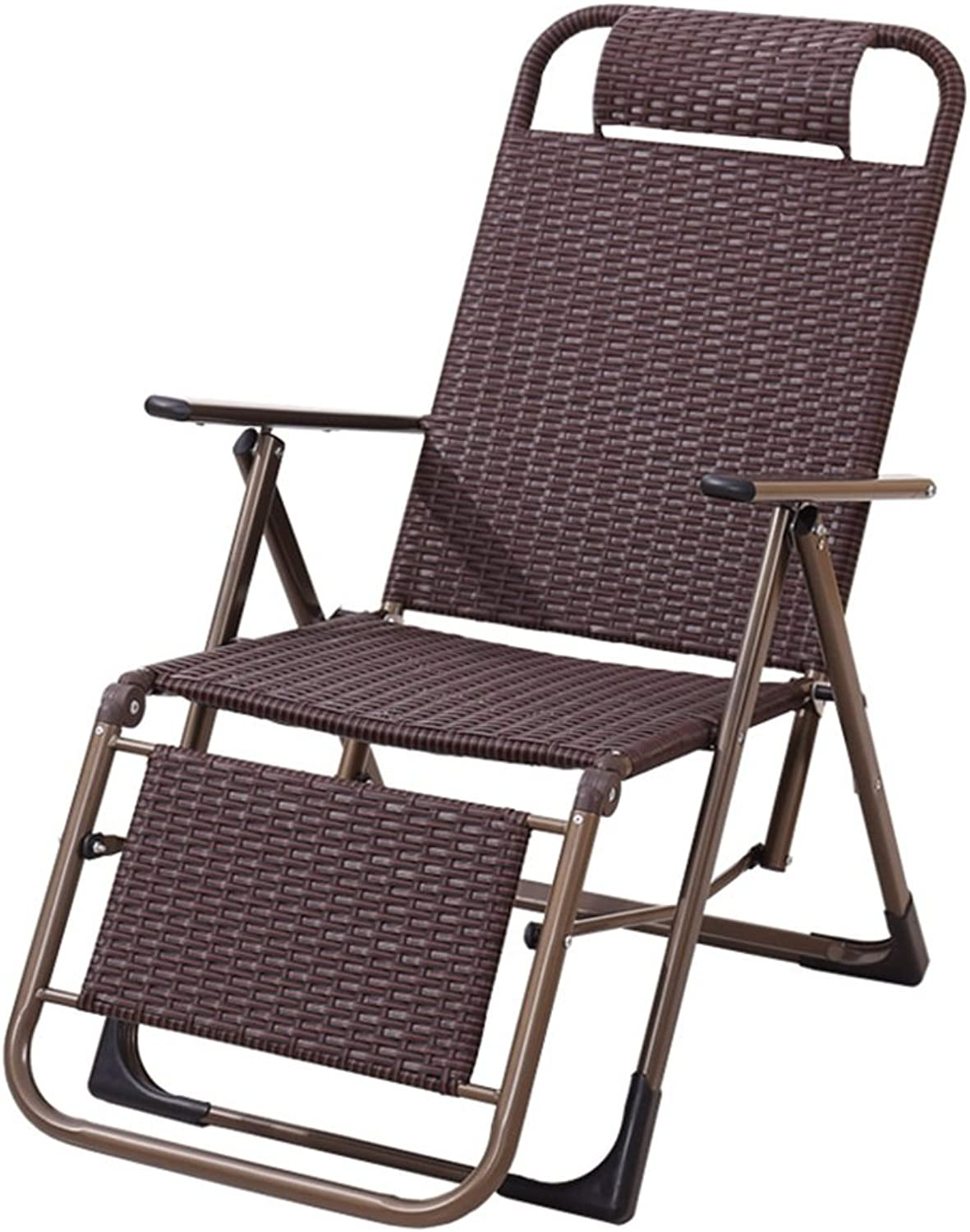 GSHWJS- trash can Folding Chair Lunch Break Couch Office Bed Recliner Back Lazy Chair Folding Chair (color   Straight Foot)