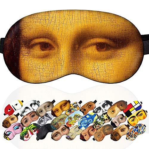Sleep Mask Masterpieces Mona Lisa for Women - 100% Soft Cotton - Comfortable Eye Sleeping Mask Night Cover Blindfoldfor Travel Airplane (Mona Lisa, Gift Pack)