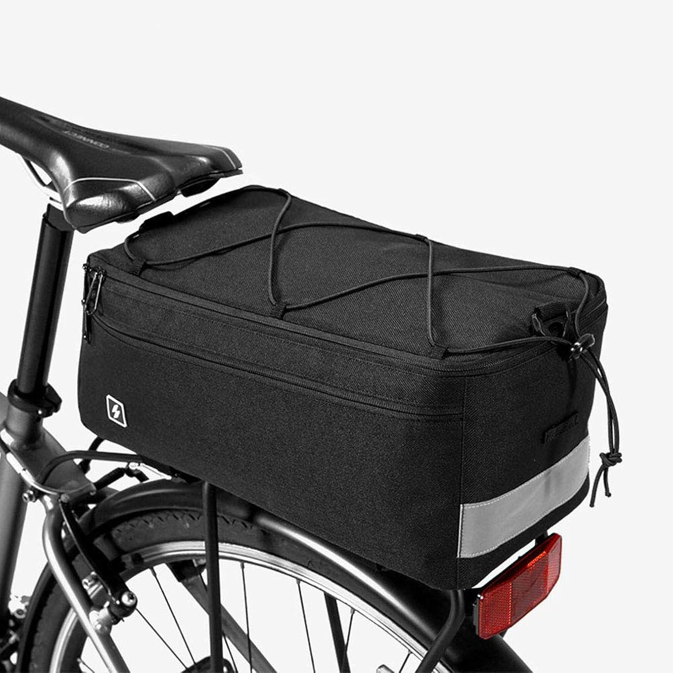 副詞ミュートサイクリングバイクバッグ 防水 自転車キャリアラックパニエバッグ ストラップラック リアトランクトートバッグ 強力なベルクロ ジッパーポケット