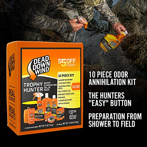 Dead Down Wind Trophy Hunter Kit | 10 Piece | Laundry Detergent, Bar Soap, Field Spray for Odor, Lip Balm | Hunting Accessories and Gear Value Pack