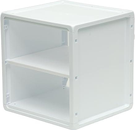 b+in White Plastic Shelf, Blue, 8 Piece