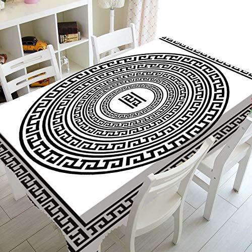 XXDD Mantel Blanco y Negro con Llave Griega, Mantel para decoración, Elegante meandro, Borde Rectangular, Cubierta de Mesa Cuadrada A4 140x180cm