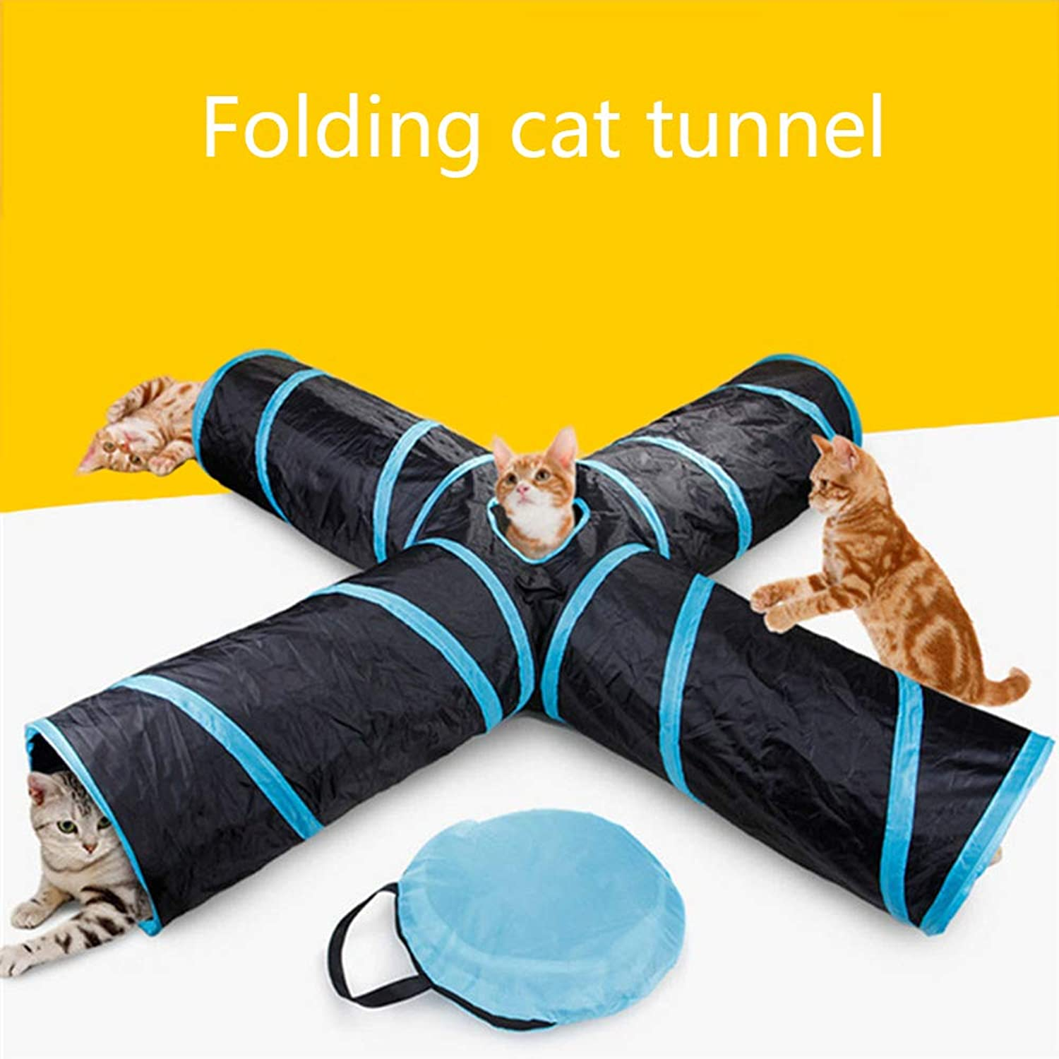 Cat Tunnel Toy, 4 Hole Folding Storage Bag Set pet Tunnel Tube e cat toy Ball, Big cat, Rabbit, Guinea Pig, indoor e outdoor use