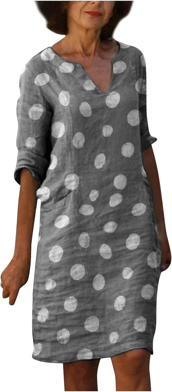 AIHOU Women Boho Vinatge Short Sleeve V Neck Tunic Dress Party Beach Casual Summer Sundress Loose T Shirts Mini Dress
