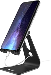 Nulaxy Phone Stand, Adjustable Cell Phone Stand, Phone Holder for Desk, Desktop Holder, Cradle, Dock Compatible with Nintendo Switch, iPhone Xs Xr 8 X 7 6 6s Plus SE 5 5s 5c, All Smartphone - Black