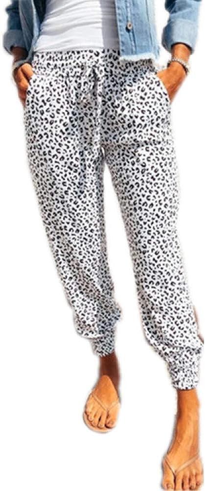 brandless Women's Plus Size Casual Pants Personality Fashion Leopard Drawstring Elastic