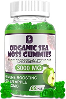 Organic Sea Moss Gummies - Jamaican Sea Moss, Bladderwrack, Burdock Root, and Apple Cider Vinegar - 60 Gummies - Vegan - C...