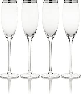 Mikasa Haley Platinum Champagne Flute, 7-Ounce, Set of 4