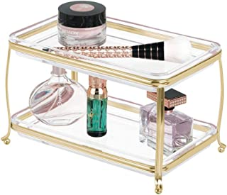 mDesign Decorative Makeup Storage Organizer Vanity Tray for Bathroom Counter Tops, 2 Levels to Hold Makeup Brushes, Eyeshadow Palettes, Lipstick, Perfume and Jewelry - Soft Brass/Clear