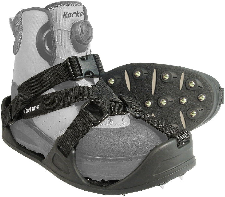 KORKERS RockTrax Plus Fishing Overshoe, Size Large, Black Moonrock (FA5101)
