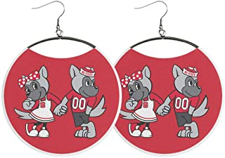 Wolfpack Earrings by Spirit Hoops, Mr. and Mrs. Wuf, Red and White