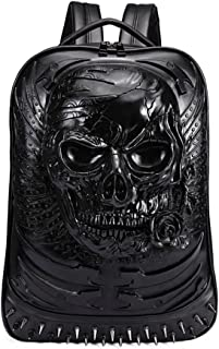 Super-cool Gothic Teen/'s 3D Skull Black PU Backpack Daypack for School Shopping