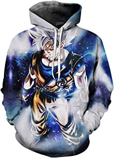 Boys Girls 3D Cartoon Print Hooded Sweatshirt Dragon Ball Novelty Pullover Pocket Blouse Top (S-6XL)