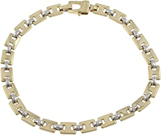 Gioiello Italiano - Bracciale in oro giallo e bianco 14kt a maglia marinara quadrata, da uomo, lunghezza 21cm