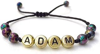 Pulsera personalizada con letra del alfabeto; Joyas con nombre, mensaje, logo, inicial para hombre (reversible) ADAM LEO E...