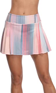 32e-SANERYI Women's Pleated Tennis Skirt Elastic Quick-Drying Skort with Side Inner Pocket Running Short
