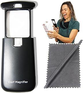 EasY-Magnifier Pocket-Leesvergroter 3x met LED-Licht; Kleine verlichte Zakleesloep met vierkante acryllens - Vergrootglas ...