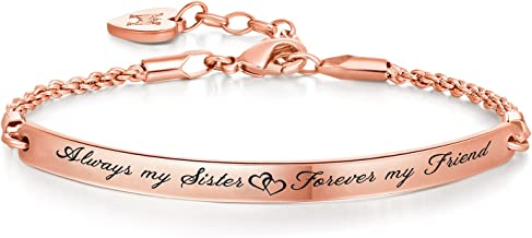 Annamate Engraved Message Always My Sister, Forever My Friend Inspirational Quote Bar Bracelet, Women Jewelry, Friendship Gift, Sister Gift