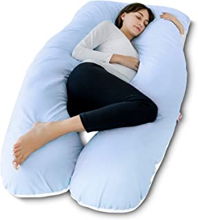 Meiz Pregnancy Pillow - U Shaped Pregnancy Pillow - Full Body Maternity Pillow for Pregnant Women, Body Pillow for Adults Sleeping with Cotton Pregnancy Pillow Cover, Blue & White