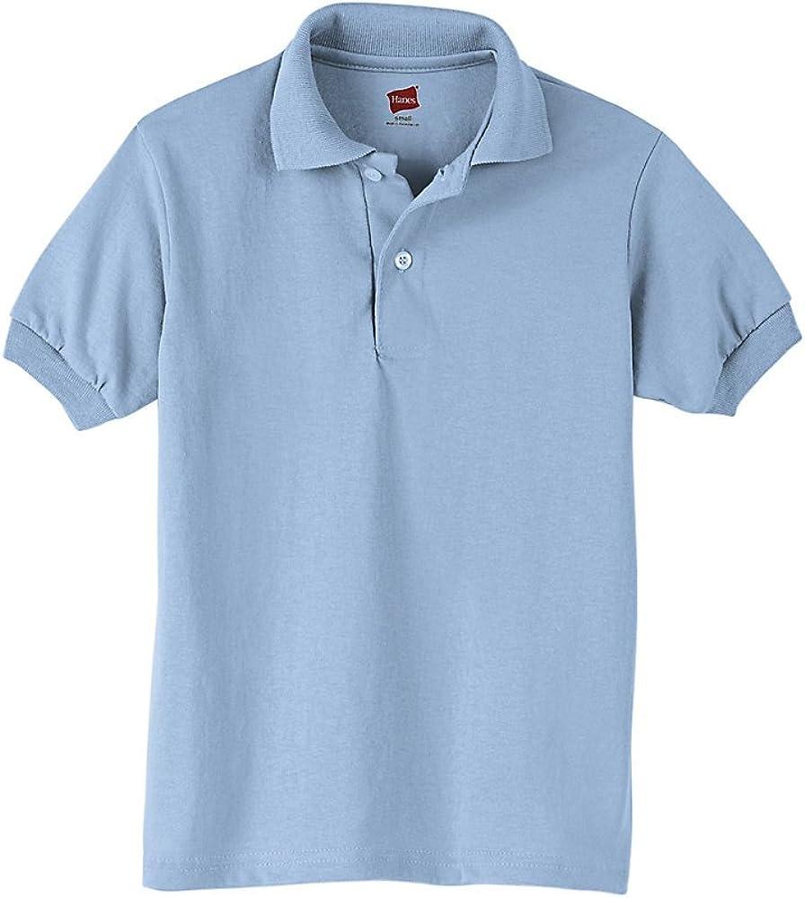 Hanes Cotton-Blend Jersey Polo (054Y) Light Blue, L