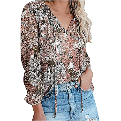 YSLMNOR Floral Printed Tops for Women Long Sleeve Summer T-Shirts Boho Casual Tunic Tees Plus Size Shirts Workout Top Pink