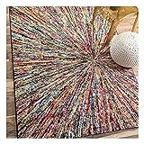 UN AMOUR DE TAPIS - Tapis Salon Moderne Design Ethnique Poils Ras - Grand Tapis Salon Scandinave Berbere - Tapis Chambre Turquoise - Tapis Salon Multicolore 120x170 cm
