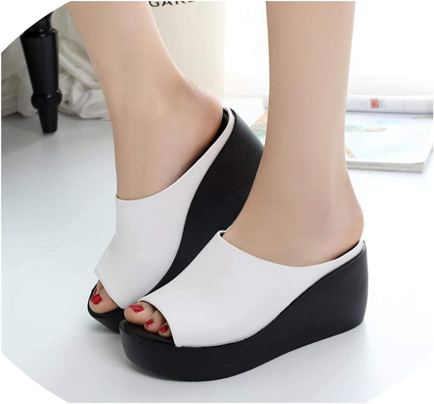 Sandals Cool Sandals and Sandals Summer New Leisure Leather Korean Super High-Heeled Waterproof Platform Muffins and shoes