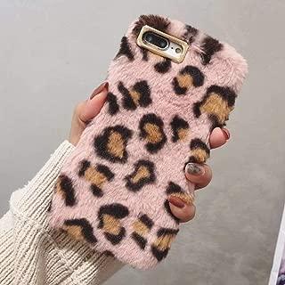L-FADNUT Case for iPhone 7 Plus Case iPhone 8 Plus Protective Case Slim Plush Case Luxury Fashion Cute Fuzzy Furry Winter Warm Fur 3D Leopard Plush Soft TPU Velvet Animal Cheetah Print Case Pink