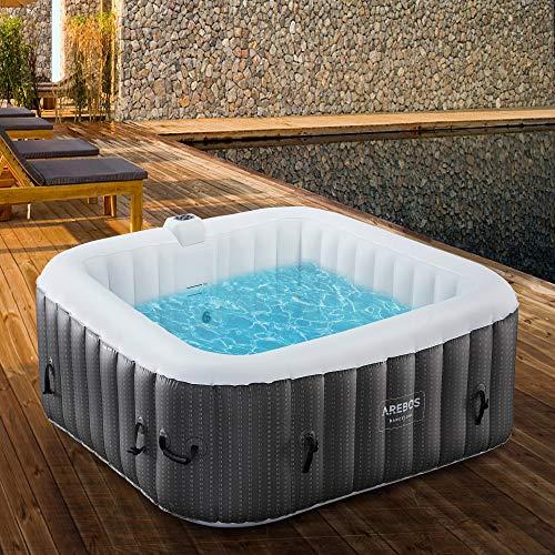 Arebos Whirlpool Barcelona | Gonfiabile | per interni ed esterni | 6 persone | 130 getti massaggianti | con riscaldamento | 910 litri | incl. copertura | Bubble Spa & Wellness Massaggio