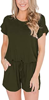 Swiland Women's Summer Short Sleeve Casual Rompers with Pockets Loose Jumpsuit