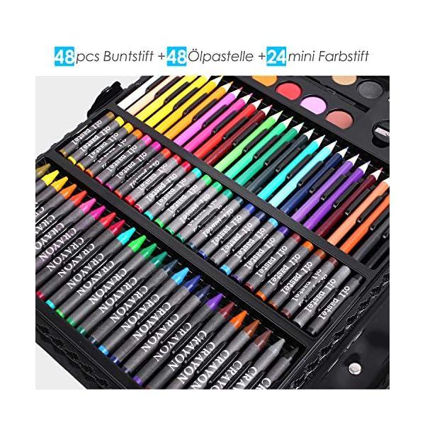 PEDY 164 Accesorios de Dibujo, Lápices de Colores, Set Artístico para Dibujar y Bocetar, Juego de Pintura para Niños, Artistas Principiantes, Estuche de Dibujo, Incluye Bloc de Dibujo