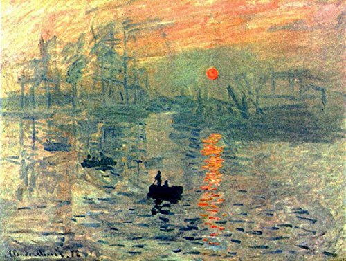 Wieco Art Impression, Sunrise by Claude Monet Famous Oil Paintings Reproduction Modern Framed Giclee