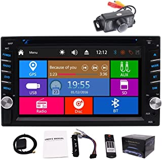in-Dash Double 2 DIN Car Autoradio Stereo Headunit CD DVD Player 6.2inch Touch Screen Bluetooth GPS Navigation System Auto Radio FM AM MP3 Car GPS Stereos Free Backup Camera Map Card
