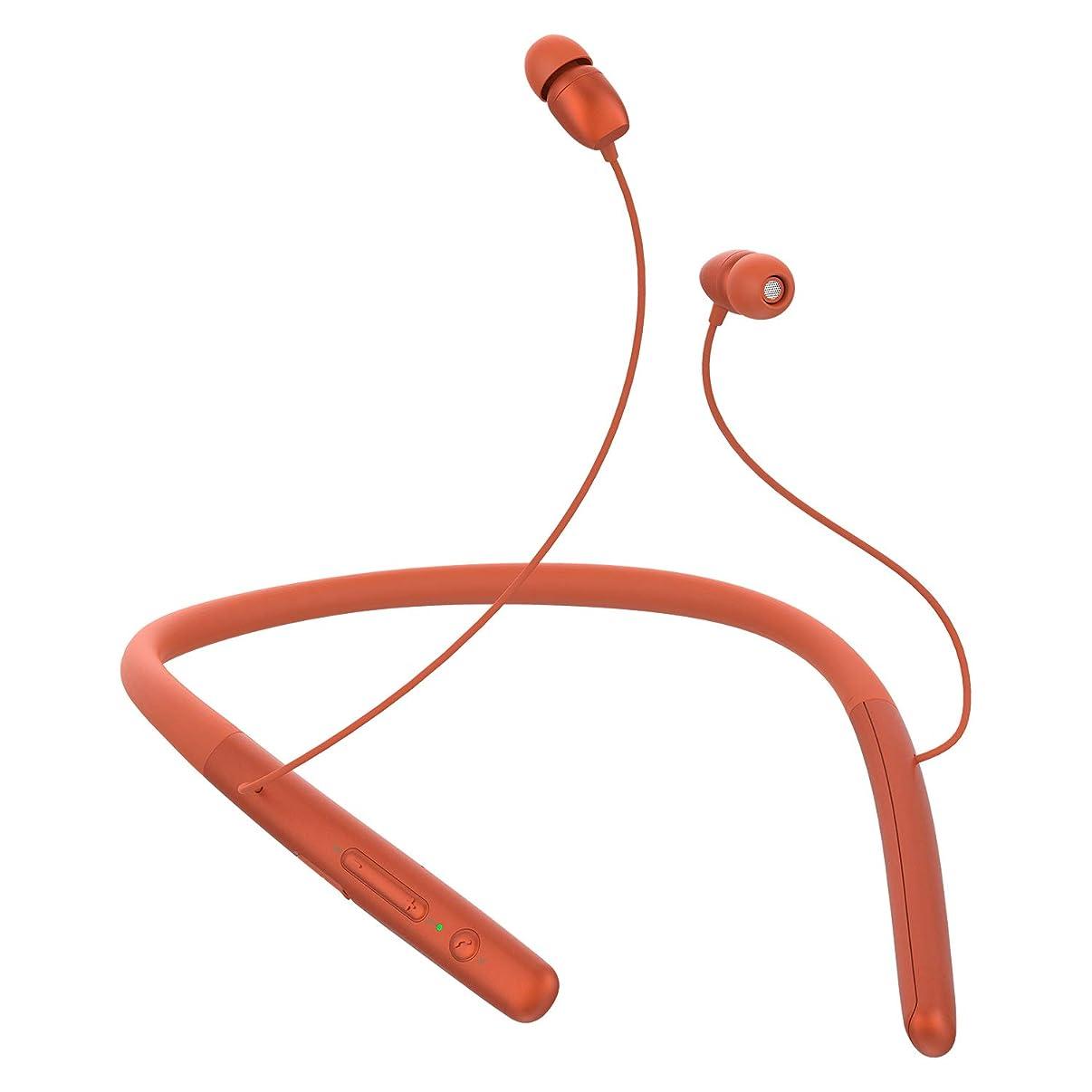 息切れ博物館鋭くIPX5 完全防水 ROMAN Bluetooth イヤホン ネックバンド 両耳 高音質 スポーツ用 8時間連続再生 低音重視 マイク内蔵 ハンズフリー通話 CSRチップ 搭載 防水防汗 iPhone Android対応(オレンジ)